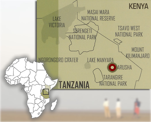 Map showing the location of Olasiti Lodge at Arusha in northern Tanzania