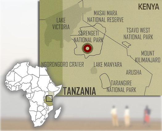 Map showing the location of our Serengeti National Park safari camps.