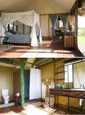 Standard Room at Maramboi Tented Camp.  Bathroom ensuite and views to Lake Manyara